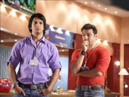 Movie Still From The Film Hello,Sharman Joshi,Sohail Khan