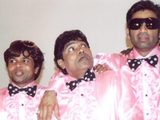 On The Sets Still From The Film Phir Hera Pheri Featuring Rajpal Yadav,Johny Lever,Sunil Shetty