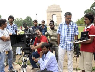 On The Sets Of The Film Ekk Deewana Tha Featuring Prateik Babbar,Amy Jackson,Manu Rishi,Sachin Khedekar,Ramesh Sippy,Samantha Ruth Prabhu,Ashwin Kakumanu,Babu Anthony,Vikas Menon