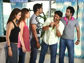 Movie Still From The Film Golmaal Returns,Kareena Kapoor,Ajay Devgn,Arshad Warsi,Tusshar Kapoor
