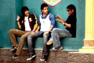 Movie Still From The Film Golmaal Returns,Shreyas Talpade,Tusshar Kapoor,Ajay Devgn