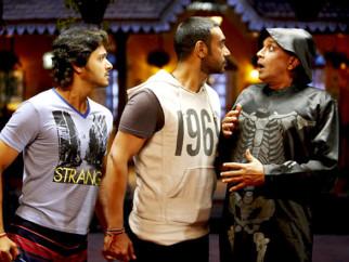 Movie Still From The Film Golmaal 3,Shreyas Talpade,Ajay Devgn,Mithun Chakraborty
