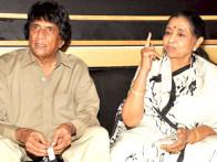 Photo Of Chandra Barot,Asha Bhosle From The Asha Bhosle records a song for the film 'Neil Ko Pakadna'