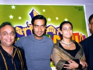 Photo Of Bharat Shah,Ajay Devgn,Kajol,Veeru Devgan From The Audio Release Of Raju Chacha