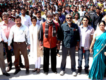On The Sets Of The Film Aarakshan Featuring Amitabh Bachchan,Saif Ali Khan,Manoj Bajpayee,Deepika Padukone,Prateik Babbar,Shabana Azmi