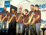 Photo Of Yusuf Pathan,Harbhajan Singh,Mahendra Singh Dhoni,Yuvraj Singh From The Dhoni, Yuvraj, Harbhajan and Pathan at Reebok event