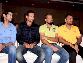 Photo Of Gaurav Kapoor,Irfan Pathan,Yusuf Pathan,Mahendra Singh Dhoni From The MS Dhoni and other cricketers at Harsha Bhogle's book launch