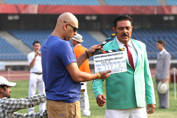 On The Sets Of The Film Bhaag Milkha Bhaag,Yuvraj Singh,Yograj Singh
