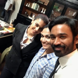 Kajol clicks a selfie with her VIP 2's co-star Dhanush and director Soundarya