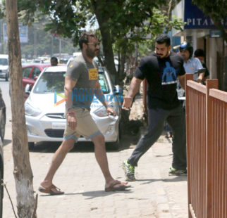 Ajay Devgnsnapped as he enters a gym in Juhu