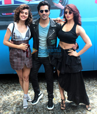 Judwaa 2 cast poses at the film's trailer launch