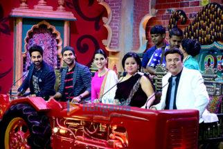 Kriti Sanon, Ayushmann Khurrana and Rajkummar Rao snapped promoting the film Bareilly Ki Barfi