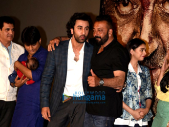 Sanjay Dutt, Ranbir Kapoor, Rajkumar Hirani at the trailer launch of 'Bhoomi'