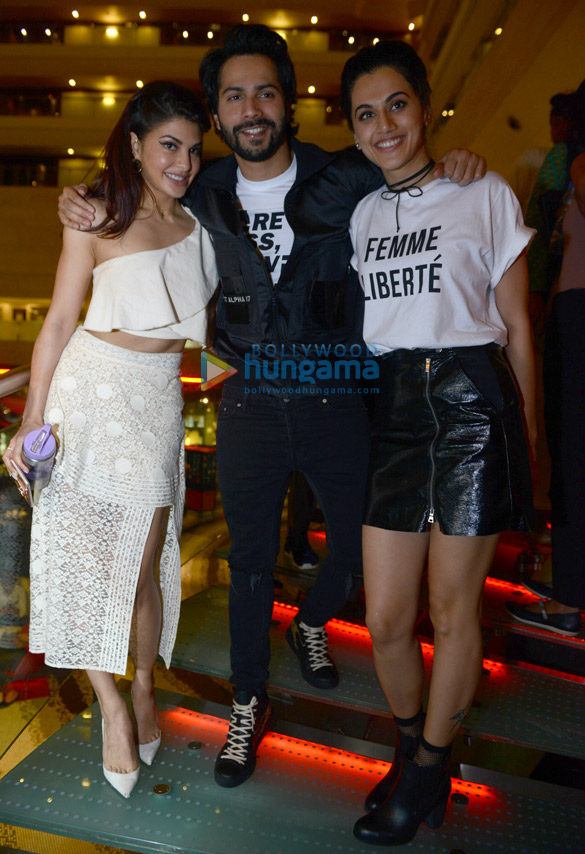 Varun Dhawan, Jacqueline Fernandez and Taapsee Pannu snapped at Le Merridean Hotel in Delhi