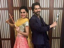 WATCH Varun Dhawan and Taapsee Pannu do the dandiya raas with massive crowd in Ahmedabad001