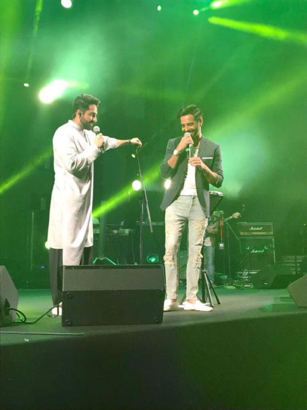Ayushmann Khurrana and Aparshakti Khurrana leave the crowd crazy with their Bhangra moves at a Dubai gig