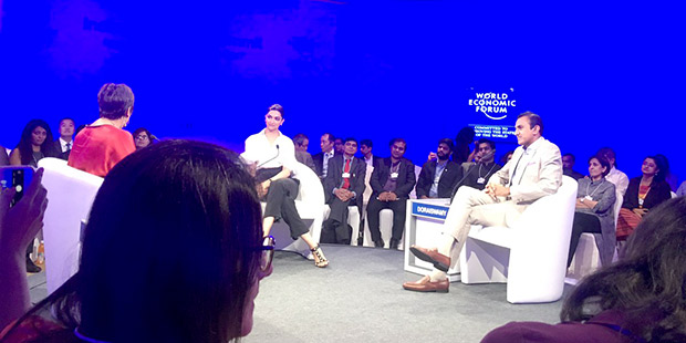 Deepika Padukone attends a session on mental health at World Economic Forum 02