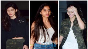 Girl gang Suhana Khan, Ananya Panday and Shanaya Kapoor enjoy a movie night-1