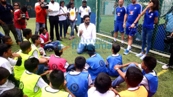 Spotted Abhishek Bachchan teaches football to kids