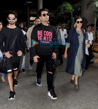 Shahid Kapoor, Karan Johar and Neha Dhupia return from Hyderabad