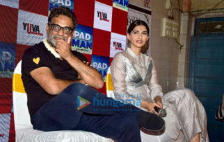 Sonam Kapoor and R. Balki snapped promoting their film Pad Man