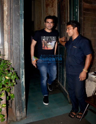 Arbaaz Khan snapped with his son post dinner at Pali Cafe in Bandra