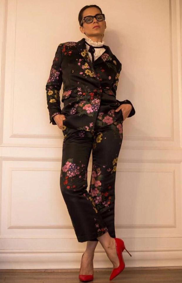Kangana Ranaut in Erdem x H&M floral pantsuit