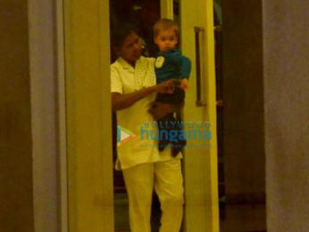 Karan Johar's twins Yash and Roohi snapped at his apartment