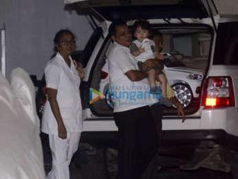Taimur Ali Khan and Inaaya Naumi Kemmu spotted at their grandmother's house in Bandra