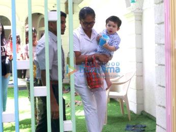 Taimur Ali Khan and Lakshya Kapoor snapped at their play school