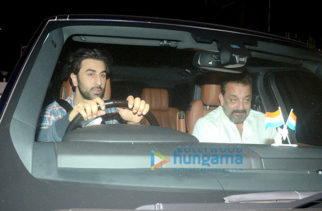 Ranbir Kapoor, Sanjay Dutt and Alia Bhatt spotted at Rishi Kapoor's home