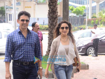 Madhuri Dixit snapped with her family