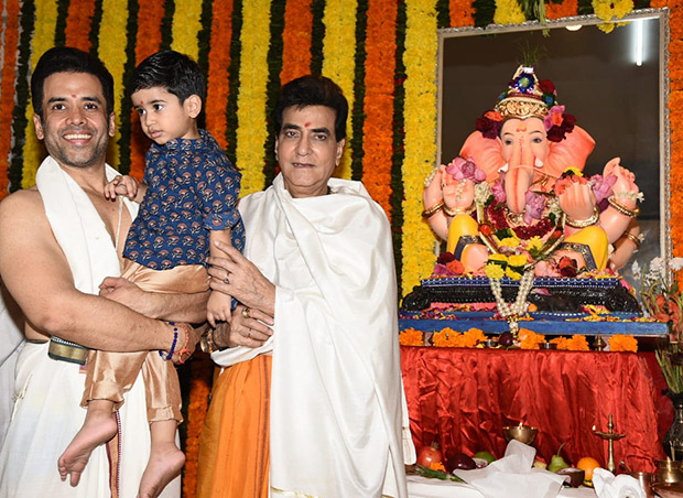 Jeetendra, son Tusshar Kapoor and grandson Laksshya –Three generations of the Kapoor family celebrate Ganesh Chaturthi together