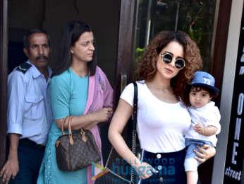 Kangana Ranaut snapped with her family at Bastian