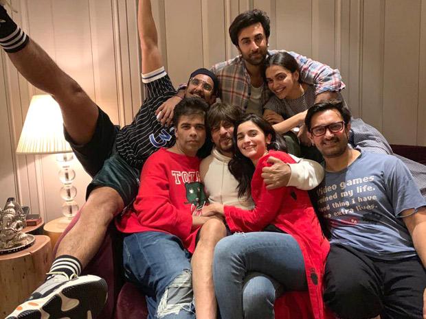 WOW! Deepika Padukone CUDDLES UP with Ranbir Kapoor, Ranveer Singh, Karan Johar, Aamir Khan, Shah Rukh Khan and Alia Bhatt pose for the biggest BLOCKBUSTER ever