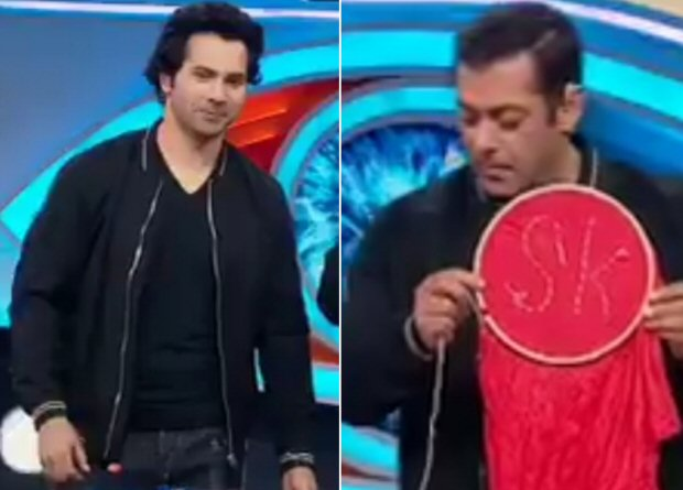 Watch Salman Khan attempts Varun Dhawan's Sui Dhaaga Challenge and stitches his initials on a cloth on Bigg Boss 12