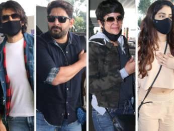 Spotted - Kartik Aaryan, Arshad Warsi, Mandira Bedi, Janhvi Kapoor, Khushi Kapoor and Nupur Sanon at Airport