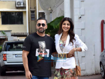 Photos: Shilpa Shetty and Raj Kundra snapped at their residence in Juhu